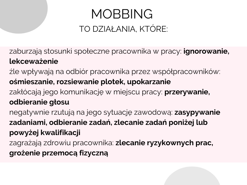 przykłady mobbingu w pracy, co może być uznane za mobbing prawo pracy